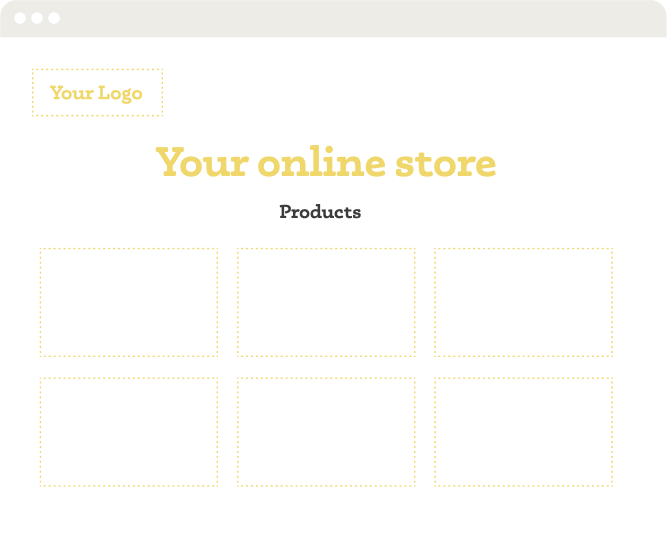 E-Commerce mockup of a digital storefront with company logo, compelling headline, and products listed.