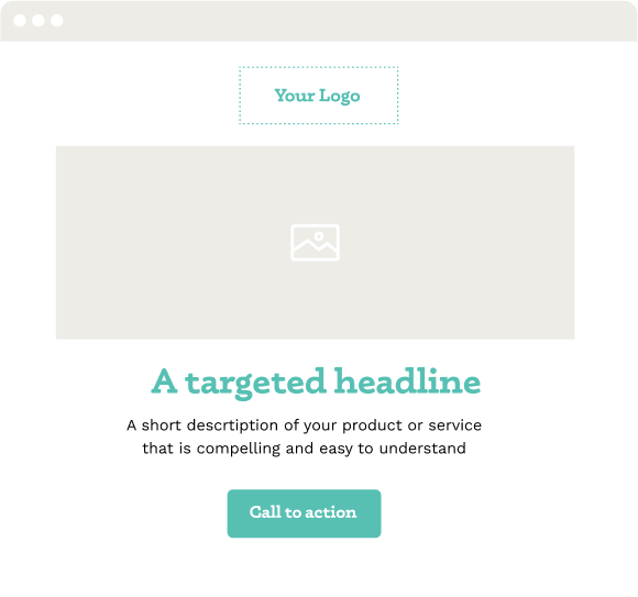 Landing Page with logo, hero image, compelling headline, short description, and call to action button