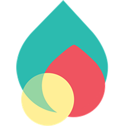 Nimble's logo which is a large teal drop behind a smaller red droplet, with a small yellow circle in front.