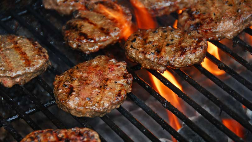 Hamburgers available on Neale's Spit Roast Catering BBQ Menu.