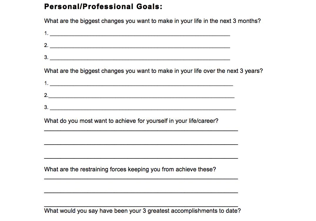 Personal Professional Goals