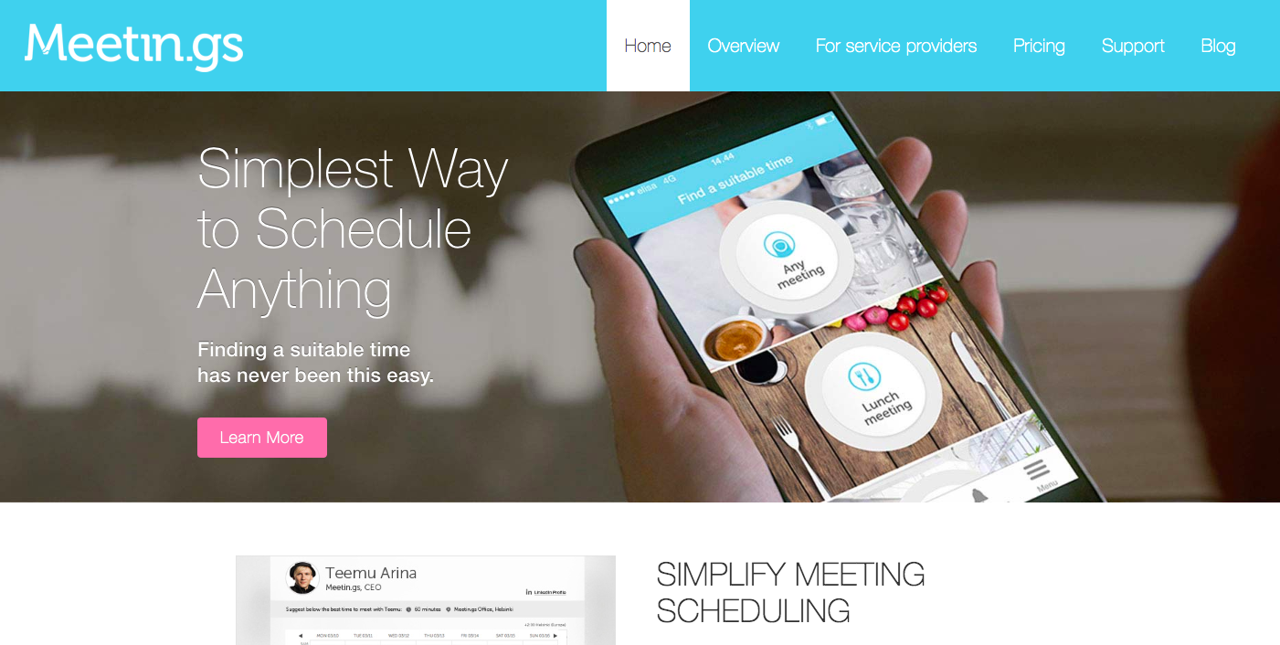 Business tool that allows coaches to schedule meetings