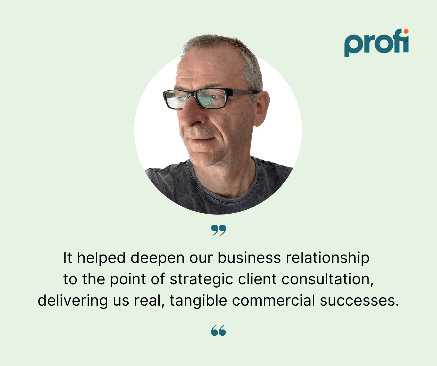 Profi.io customer case study quote | Innovation Experts corporate consulting business