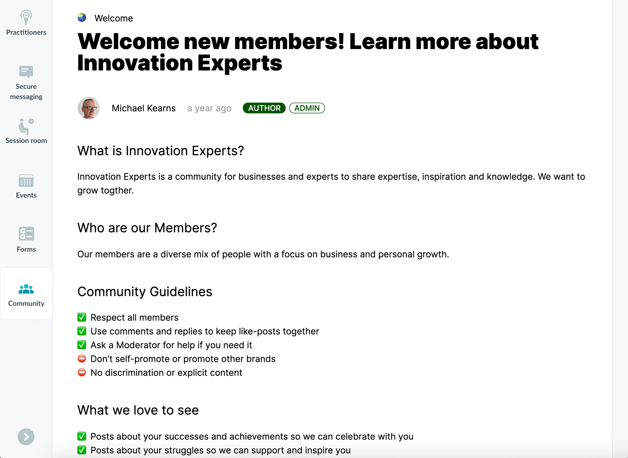 Innovation Experts Peerboard community welcome page inside their Profi-powered expert marketplace