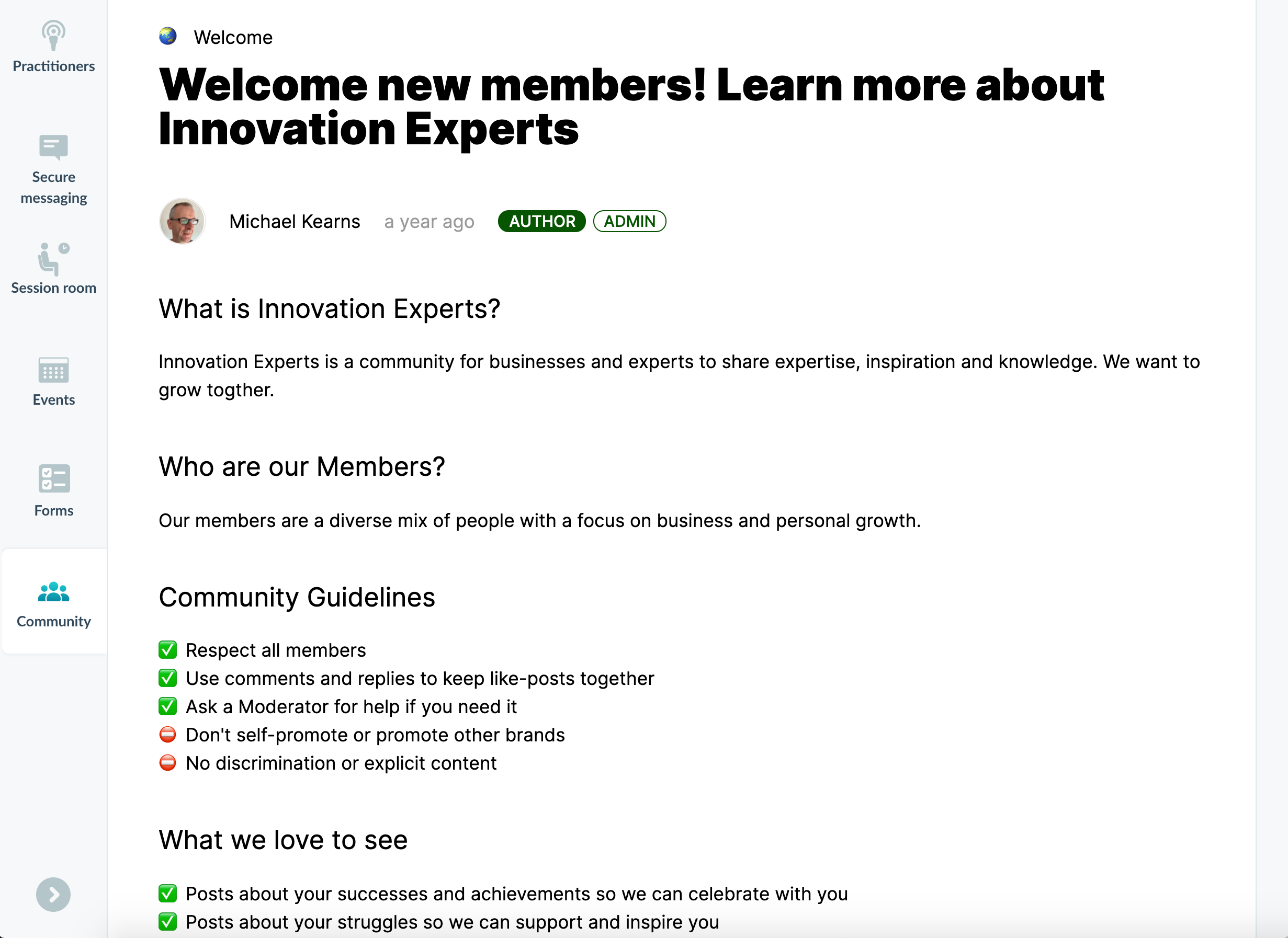 The Innovation Experts Community welcome page inside their Profi-powered expert marketplace