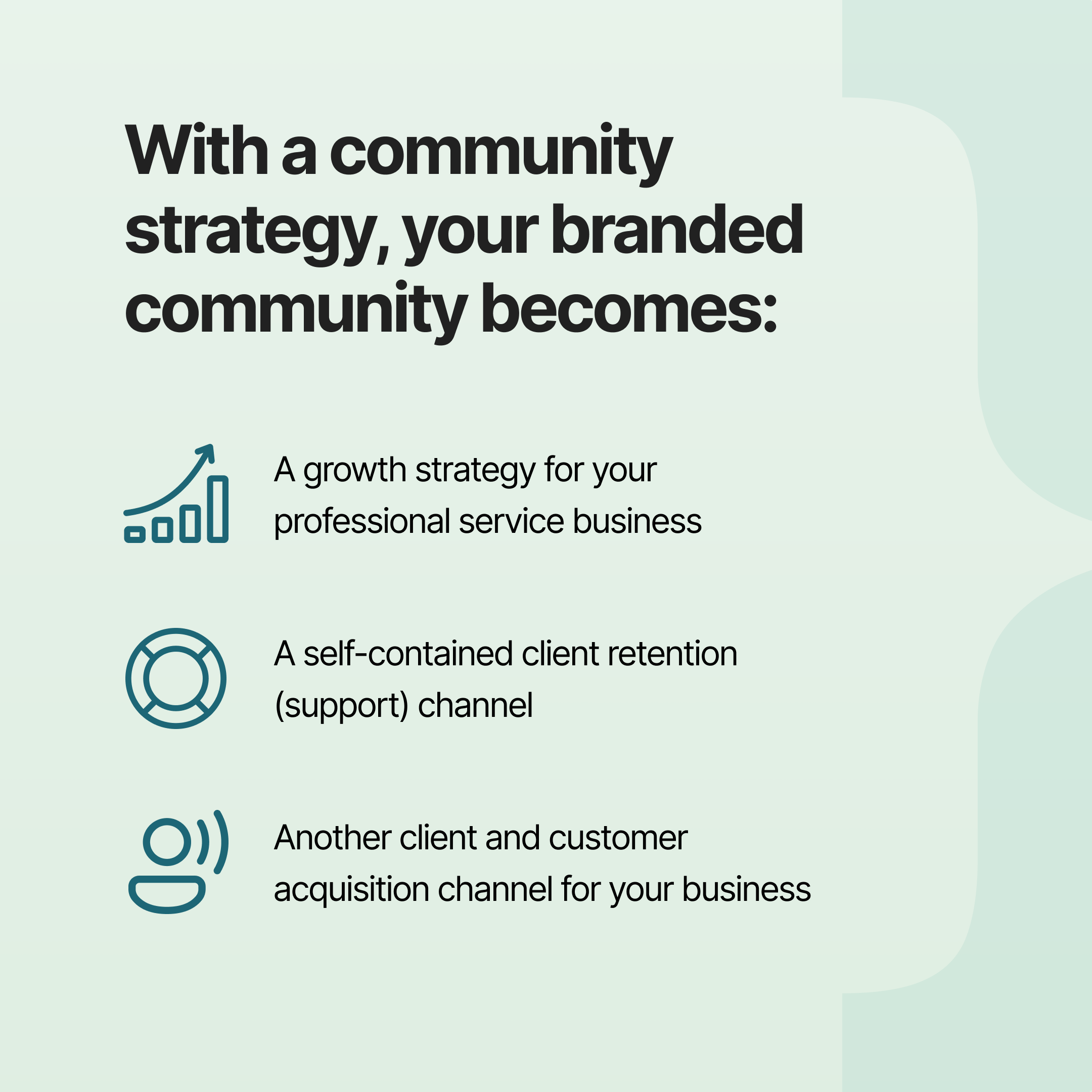 Community strategy equals client acquisition, support and growth strategy for your service business | Profi | community building business model strategy