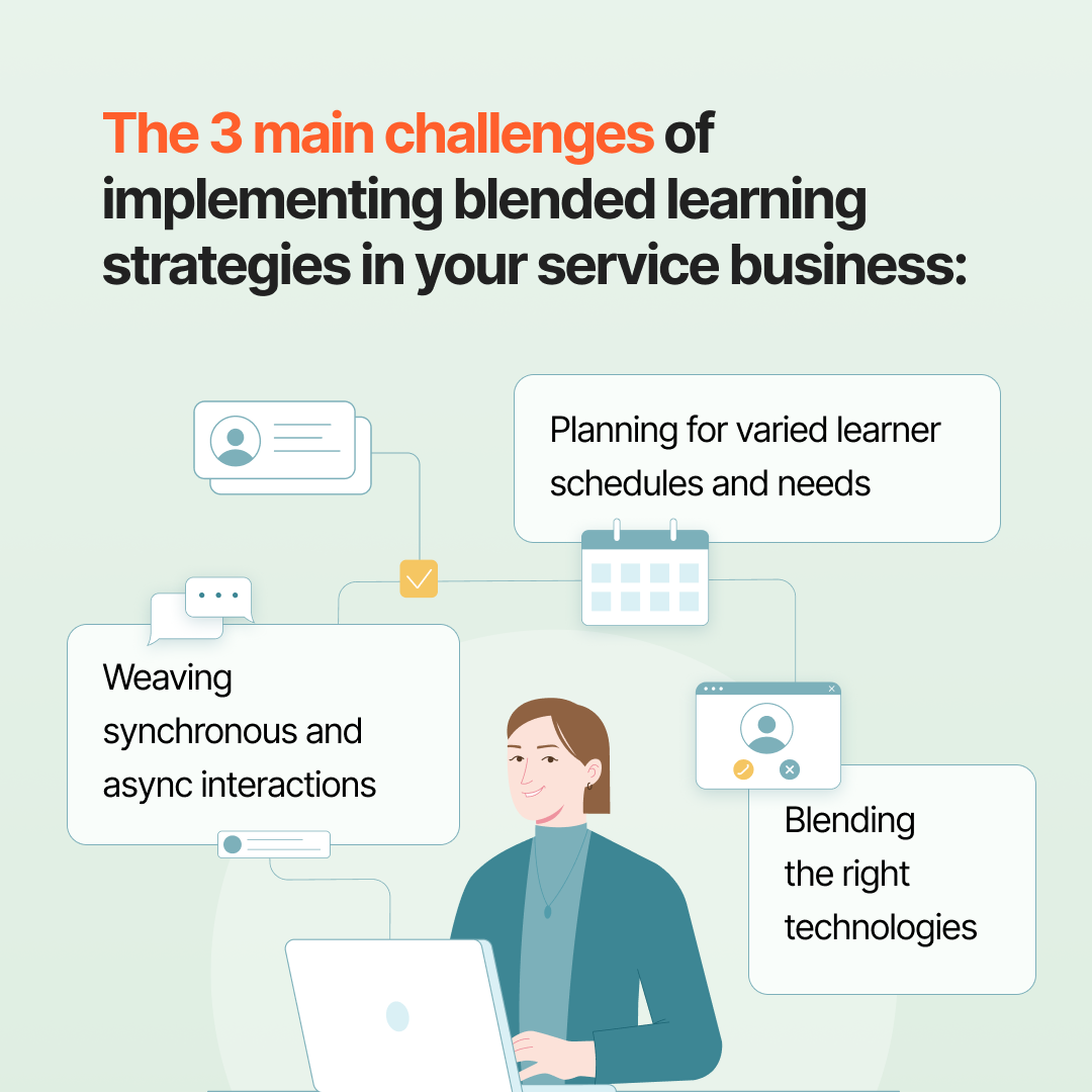 The 3 main challenges of implementing blended learning strategies in your service business | Profi course and program development platform