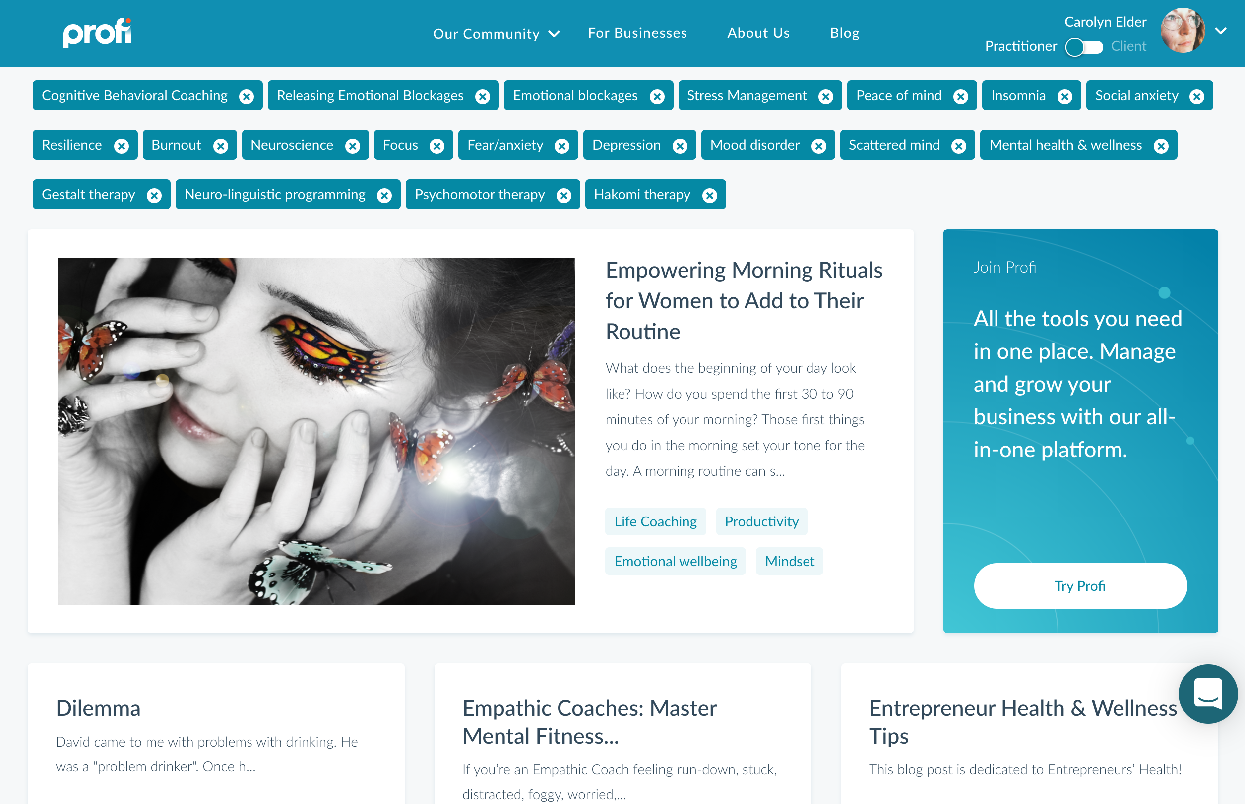 Using mental health tags to filter Profi Marketplace content | mental health support for service providers