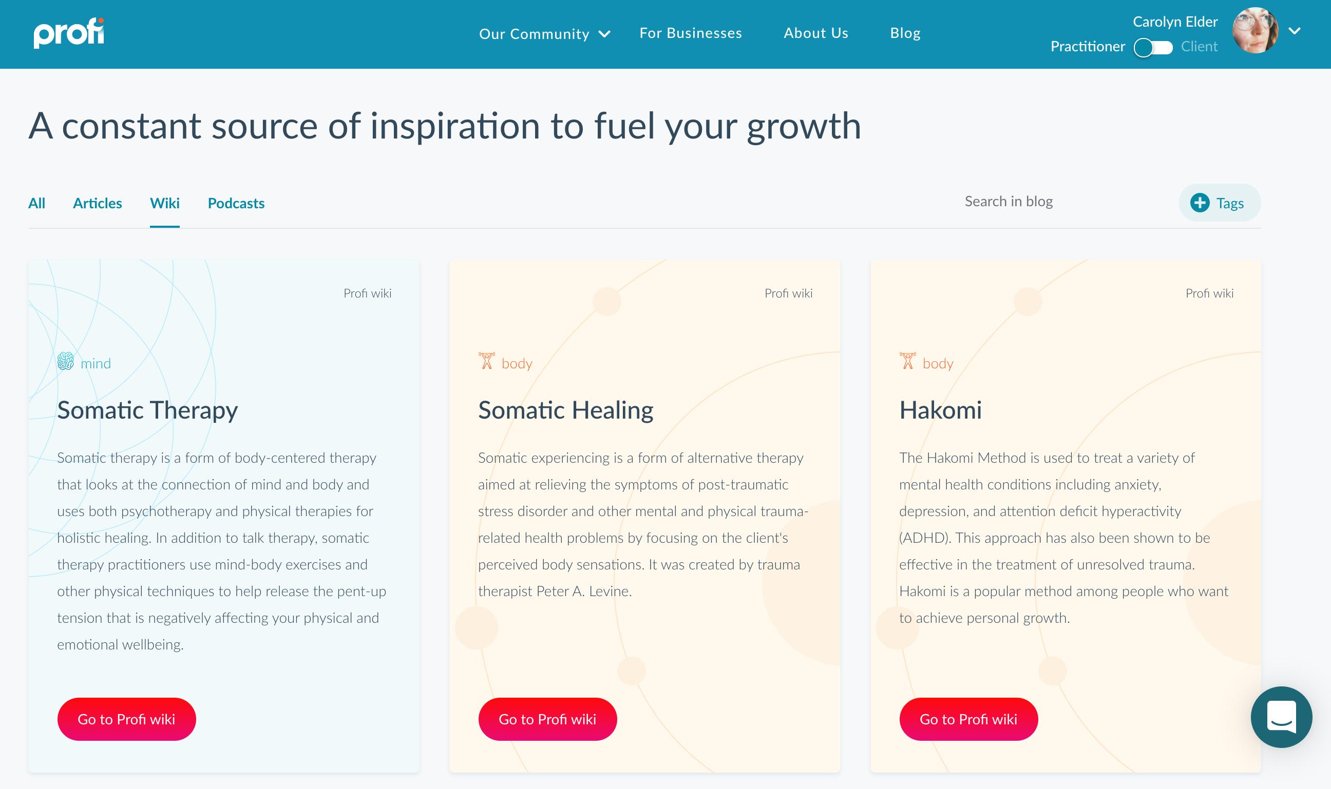 Profi Wiki of health and wellness modalities | mental health help for service professionls