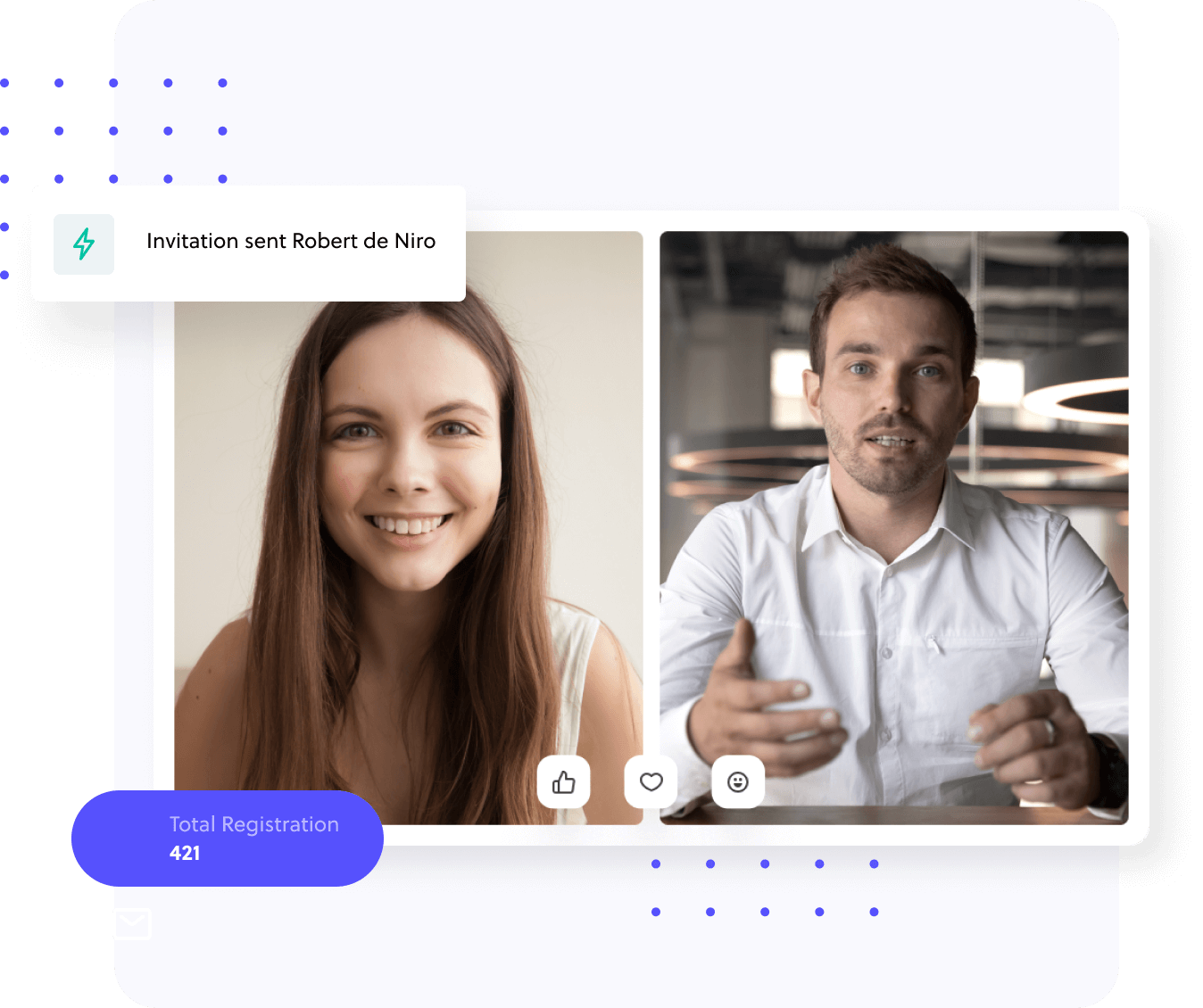 Two people talking to each other during virtual event