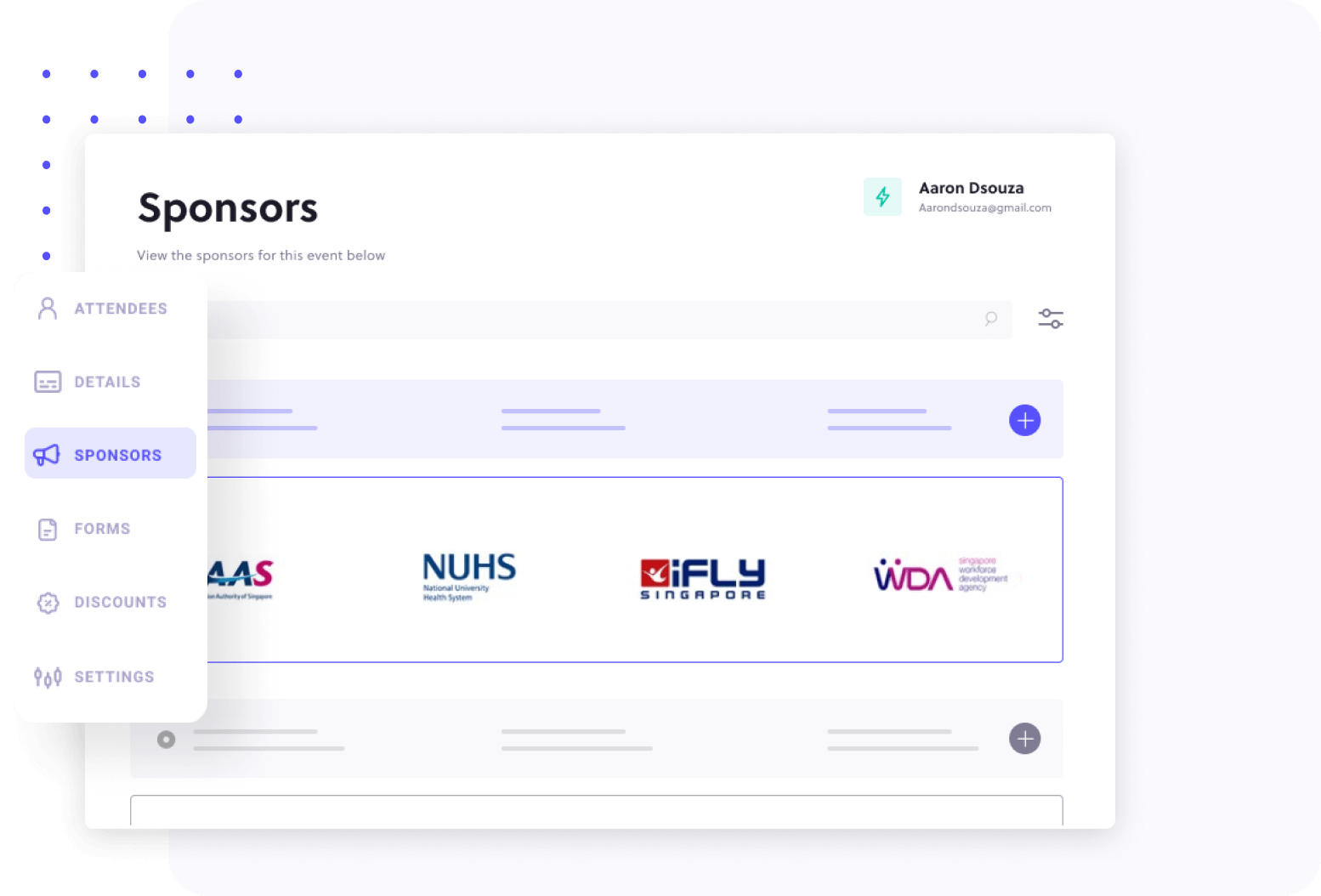 Dashboard showcasing the potential sponsors of the virtual event