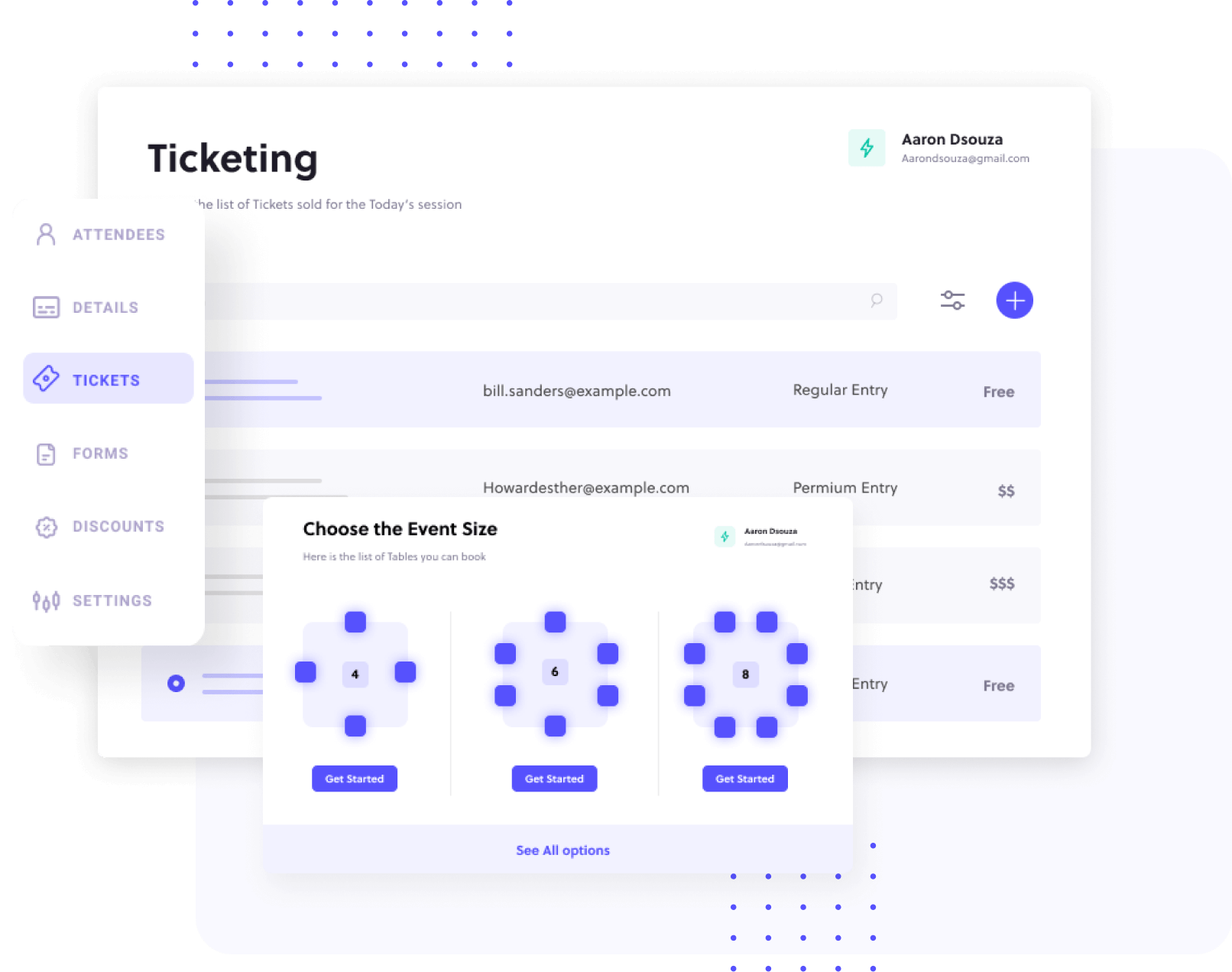 Ticketing management system showing different options of event sizes to choose from.