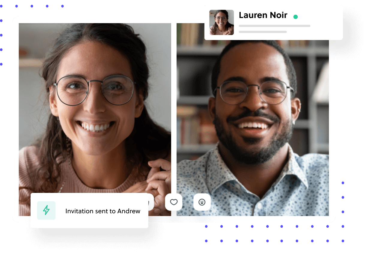 Two people privately connecting and interact through video call.
