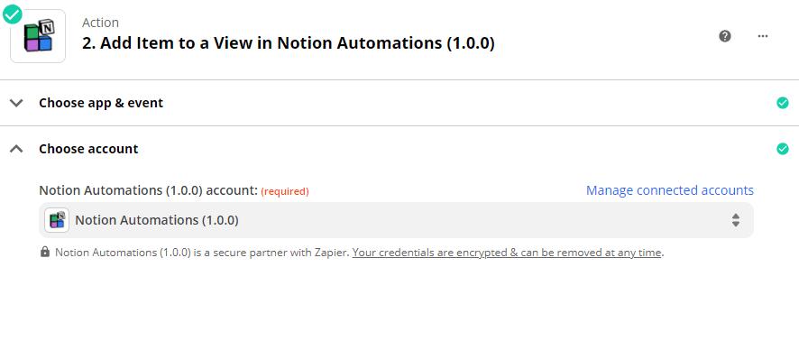 Choix de l'account Notion