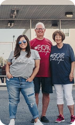Three members of Grand Point Church of Shippensburg wearing their #ForShip campaign shirts.