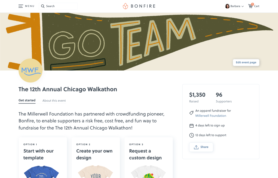 An example user interface of an organisation event page on Bonfire.