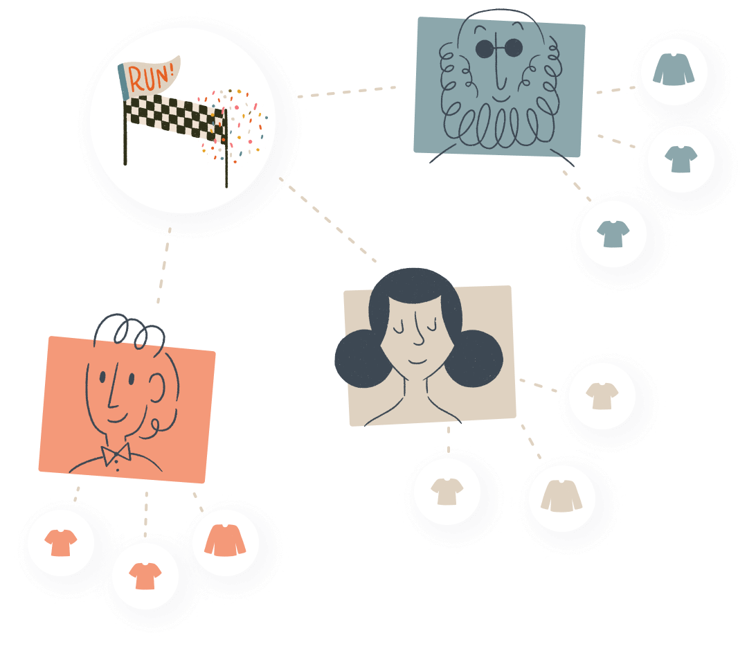 An illustration showing three different people and their campaigns linked to the same event.