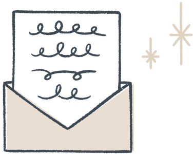 Hand-drawn open envelope with a letter sliding out the top and stars to the side.