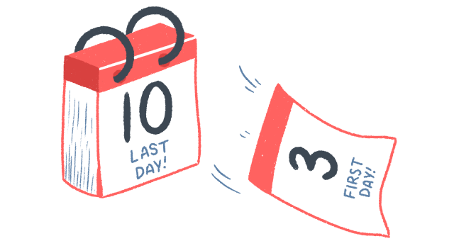 """An illustration of a calendar – the first page torn off with """"First Day!"""" on, revealing the next page with """"Last Day!"""" written on it."""