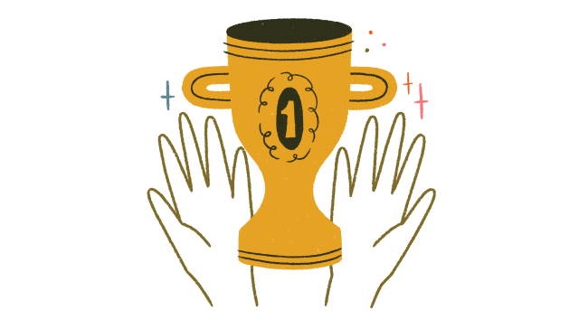 An illustration of a trophy being held up with two hands and stars around it.
