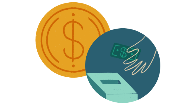 An illustration of a dollar coin and a hand putting a dollar bill into a box.