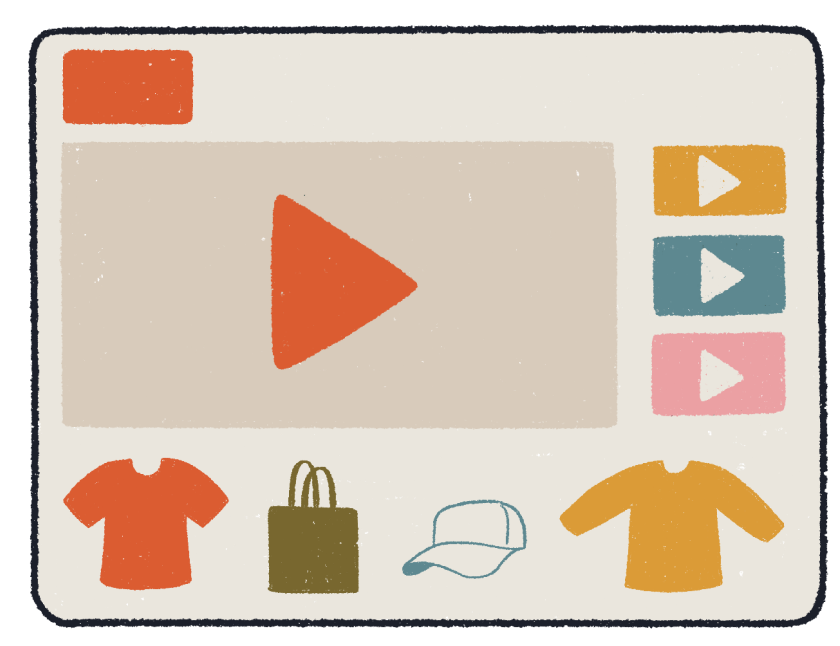 Cute retro illustration of a user selling merch on YouTube.