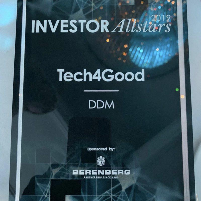 DDM win Tech4Good Award at Investor Allstars