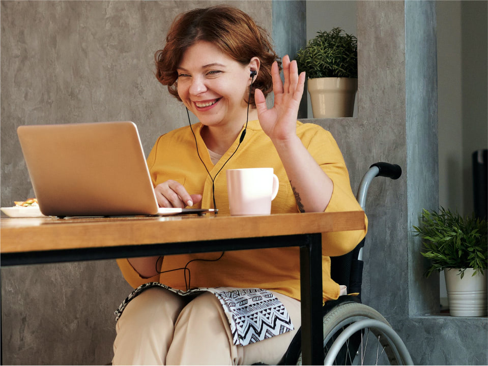 Physically impaired person working