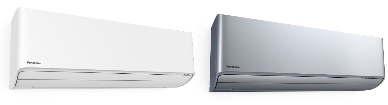Panasonic air conditioning units in white and silver