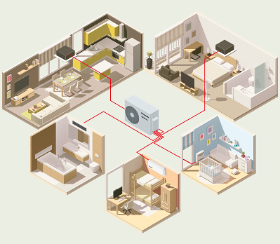 3D cutout infographic of an air conditioning system