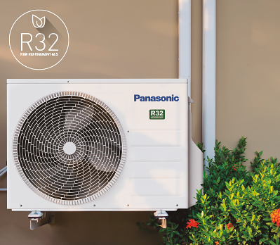a Panasonic air conditioning unit on an outside wall