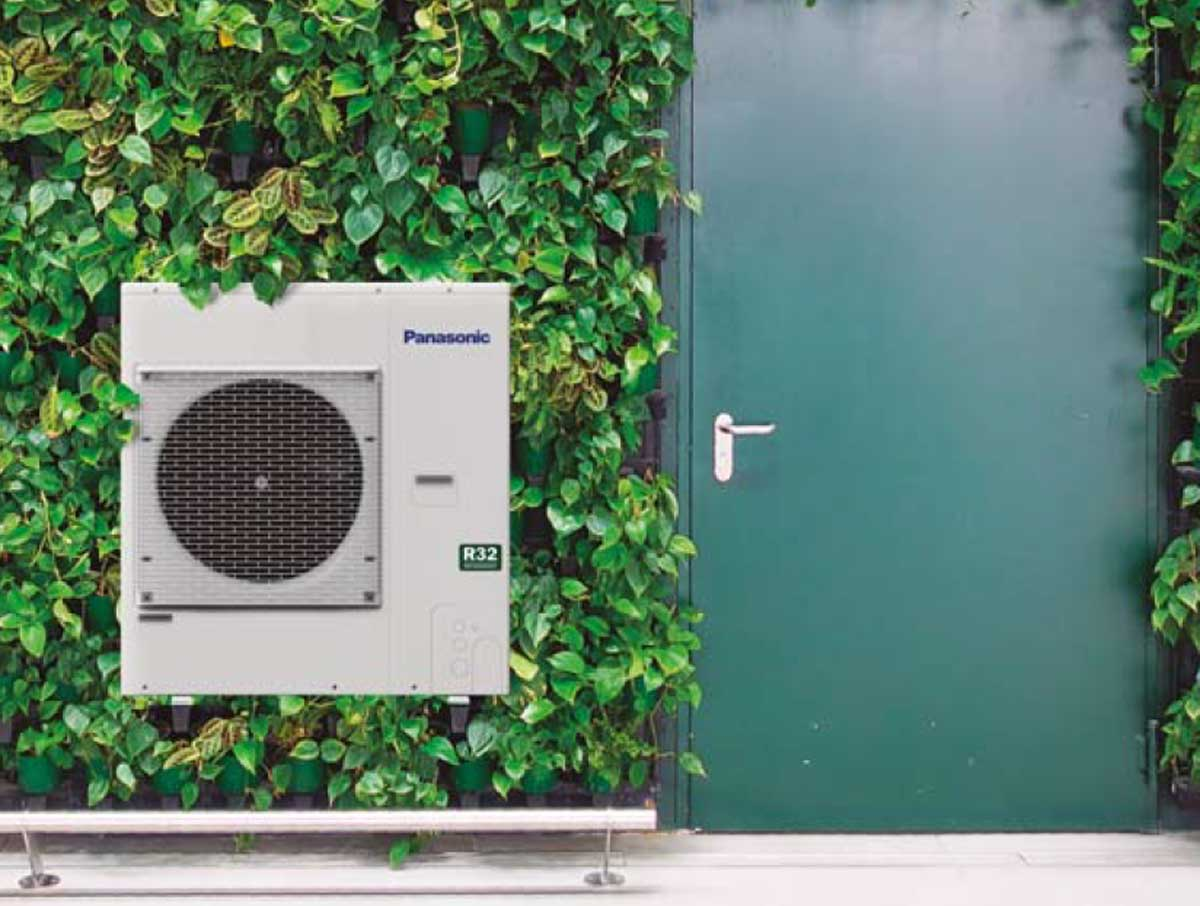 air conditioning unit on outside wall