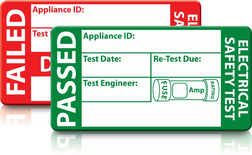 Electrical safety test stickers