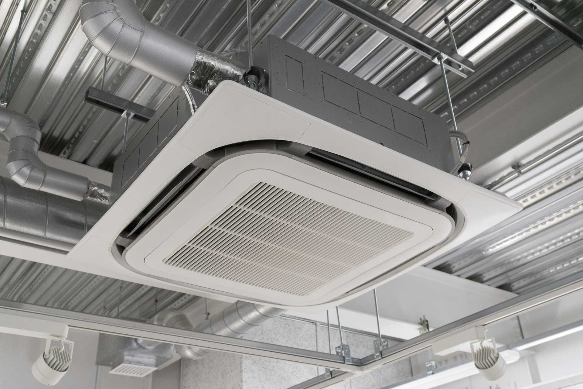 an industrial air conditioning unit ceiling mounted