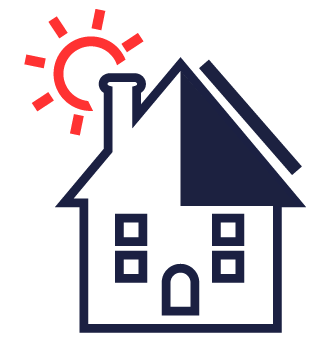 house icon with sun rising behind it