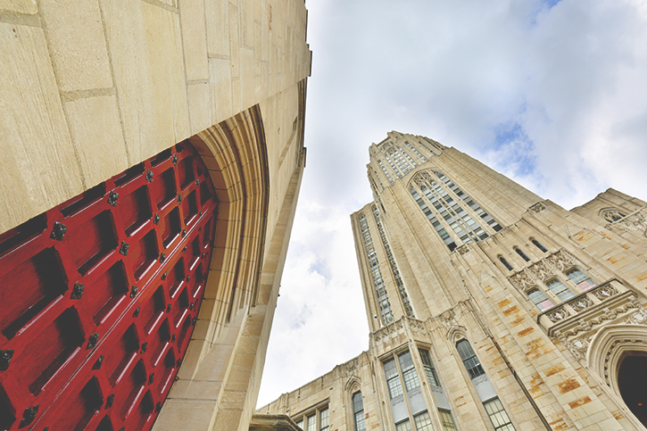 A photo of the Cathedral of Learning shot from below