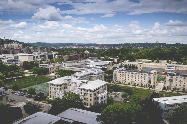 An aerial image of the Carnegie Mellon University campus on a clear sunny day