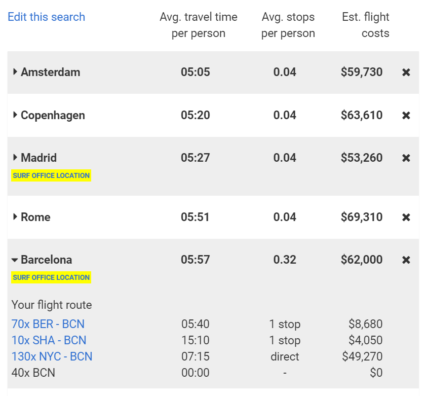Location Finder - search flight results