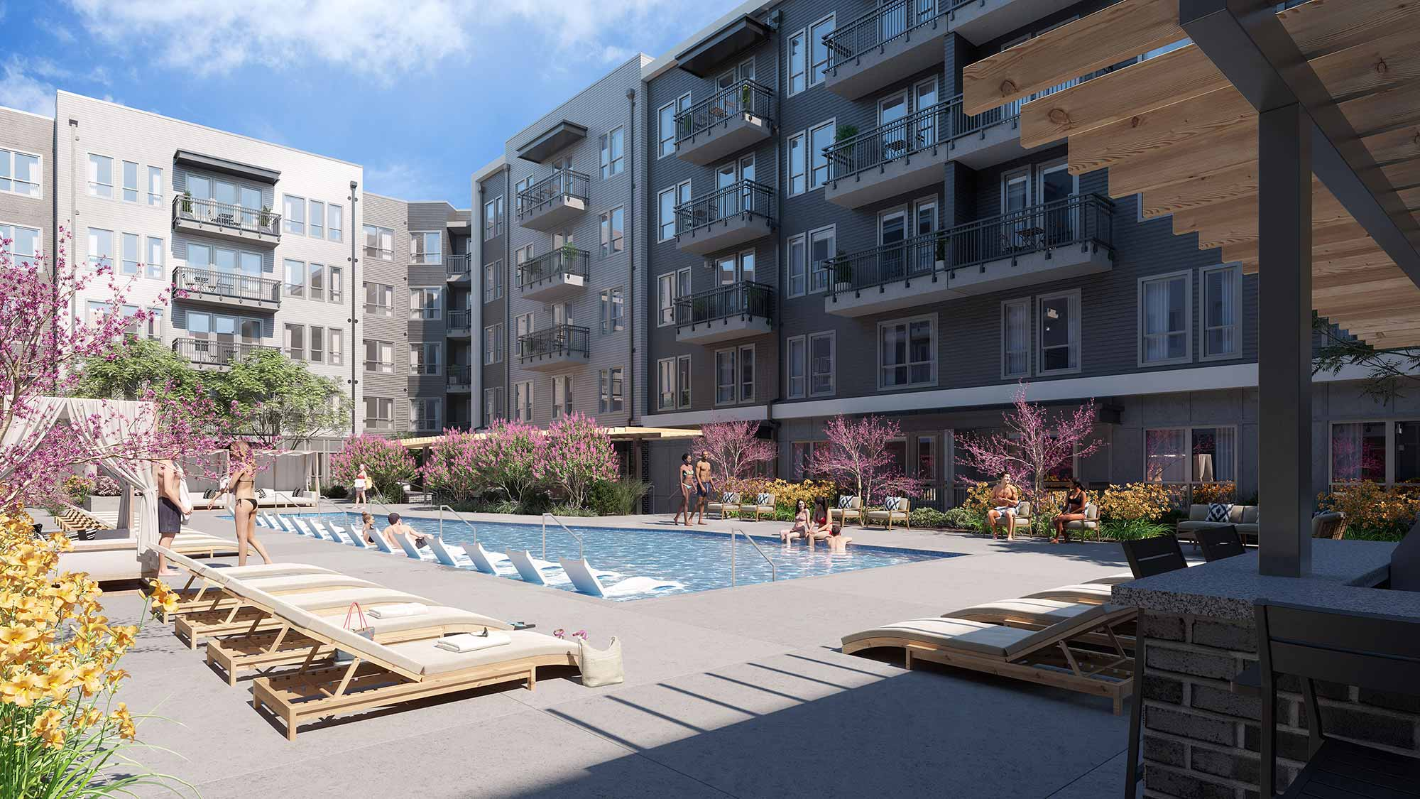 Rendering of the pool and furniture at the Residences at Classen Curve
