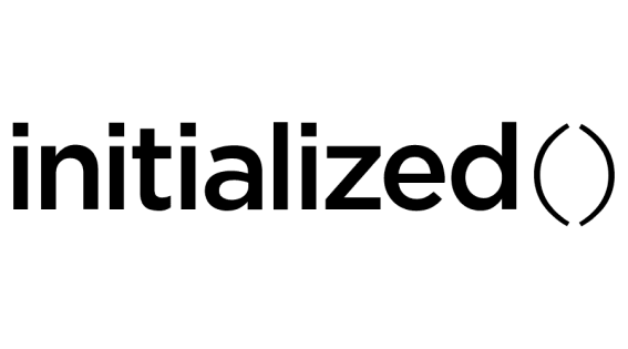 """The logo of initialized capital, displaying the word """"initialized"""" in a lowercase sans serif font followed by an open and closed parenthesis in a lighter weight."""