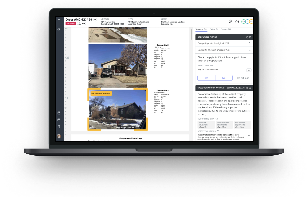 A laptop with a screenshot of HomeVision QC software demonstrating a dynamic checklist with an MLS photo highlighted by the machine learning technology.