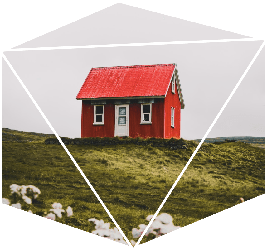 An image of a red house on a grassy hill framed by a hexagon.