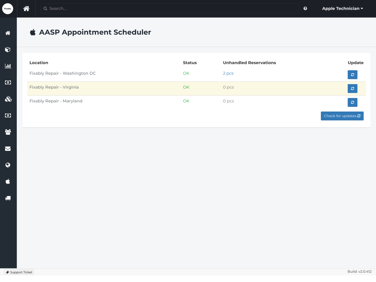 Apple Appointment Scheduler view in Fixably for Apple Authorized Service Providers.