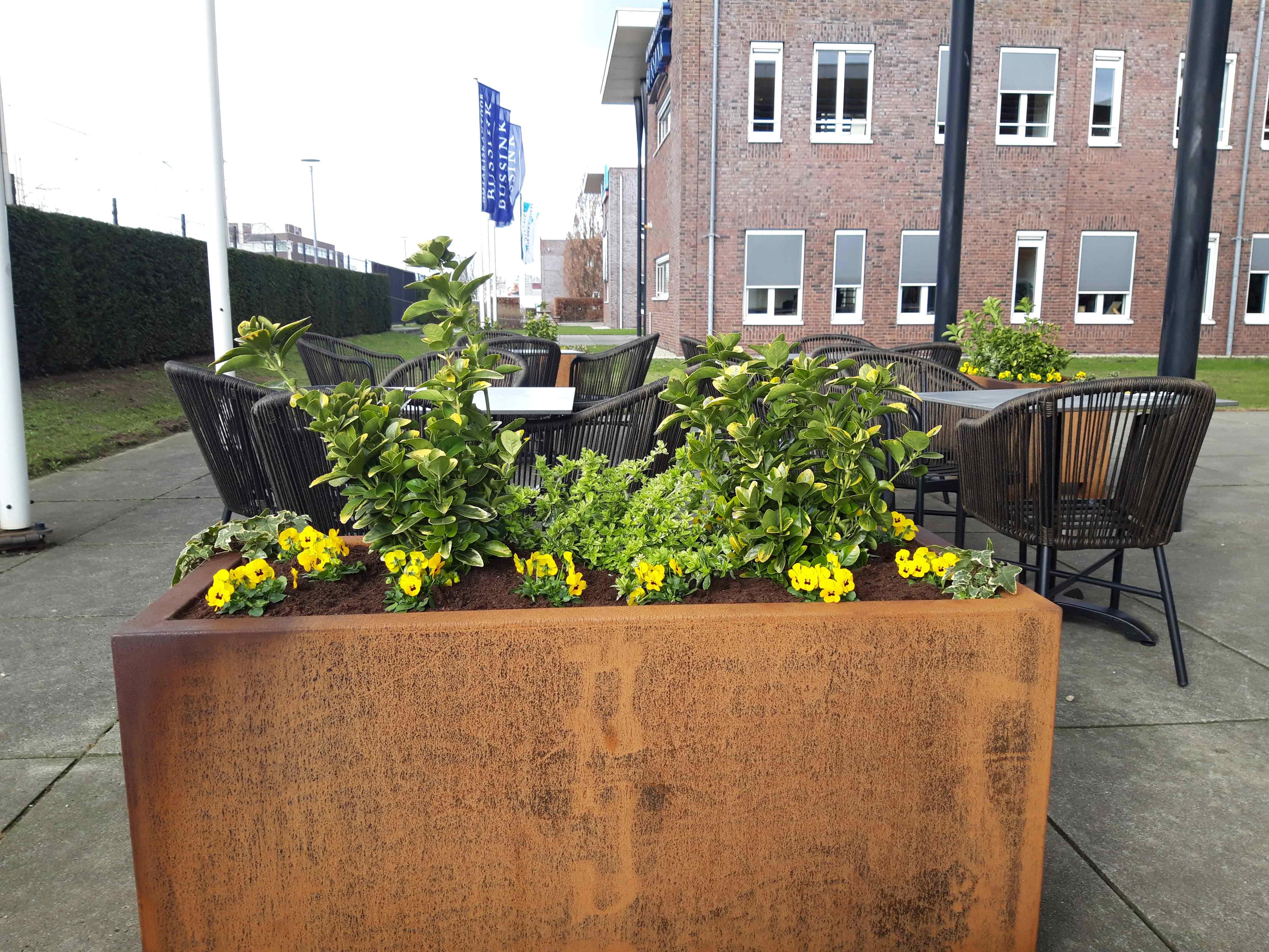 bloembakken gevuld op terras horeca