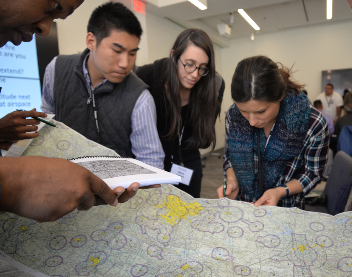 Students studying a map.
