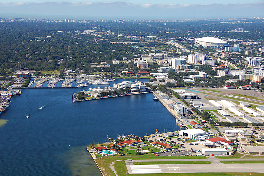 An aerial shot of the St. Pete innovation district