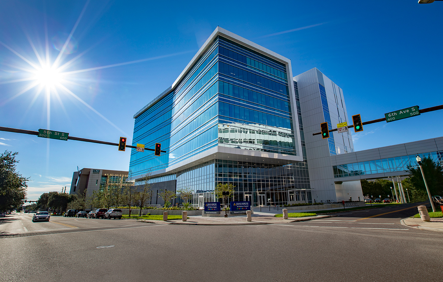 An exterior shot of the Johns Hopkins All Children's Hospital Research building on a sunny day