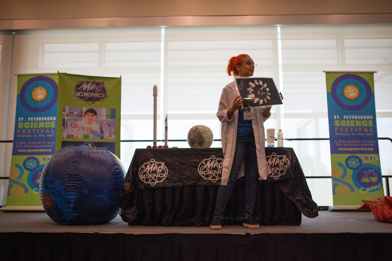 Science presentation on stage