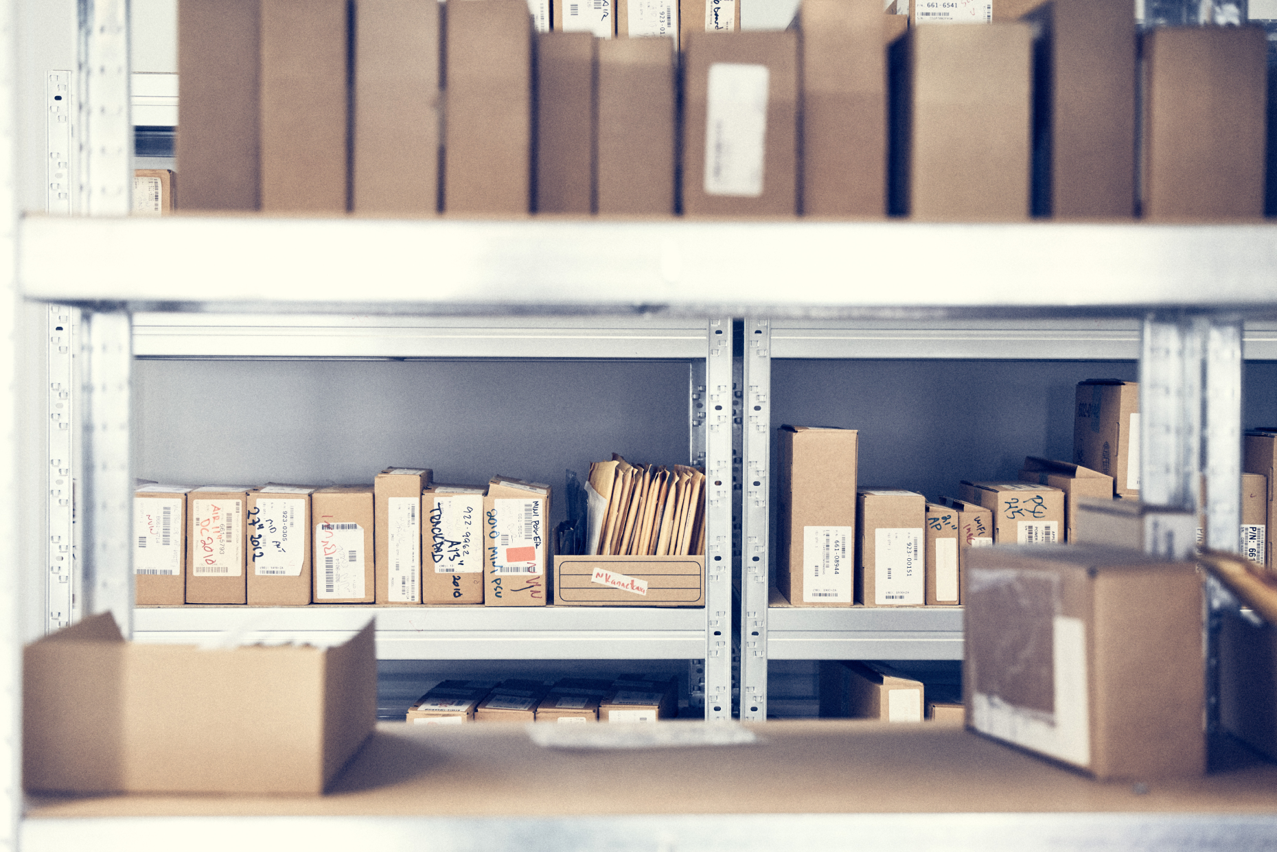 A stock and inventory room at a Apple Authorized Service Provider. AASPs need to maintain workshops and storage spaces that meet Apple's guidelines.