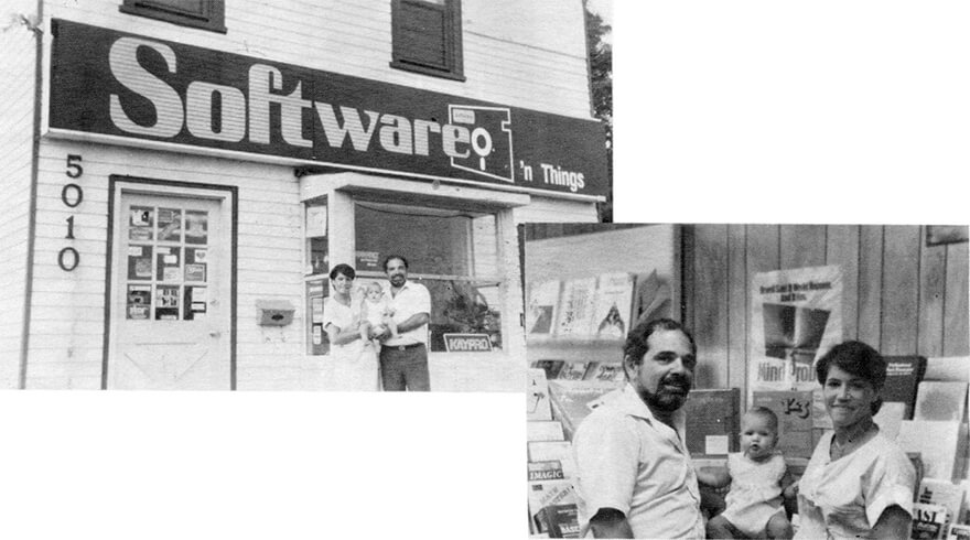 Jessica Aiello as a young girl with her parents outside a building with a sign that says software